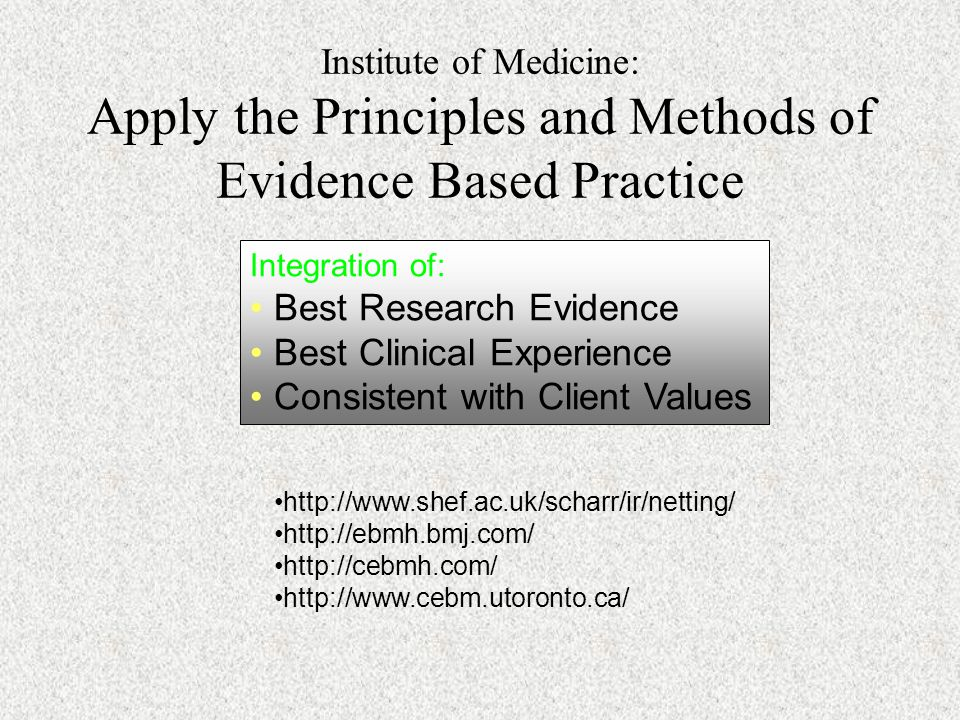 Best Research Evidence Best Clinical Experience