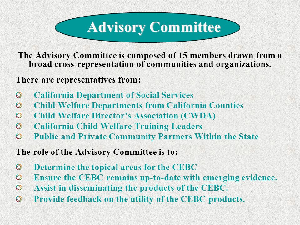 Advisory Committee The Advisory Committee is composed of 15 members drawn from a broad cross-representation of communities and organizations.