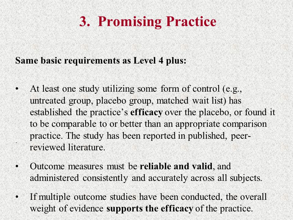 3. Promising Practice Same basic requirements as Level 4 plus: