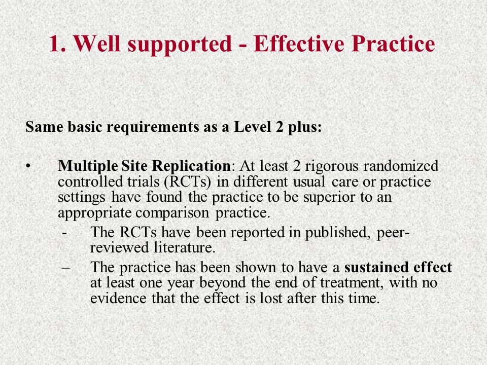1. Well supported - Effective Practice
