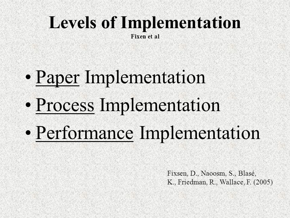 Levels of Implementation Fixen et al