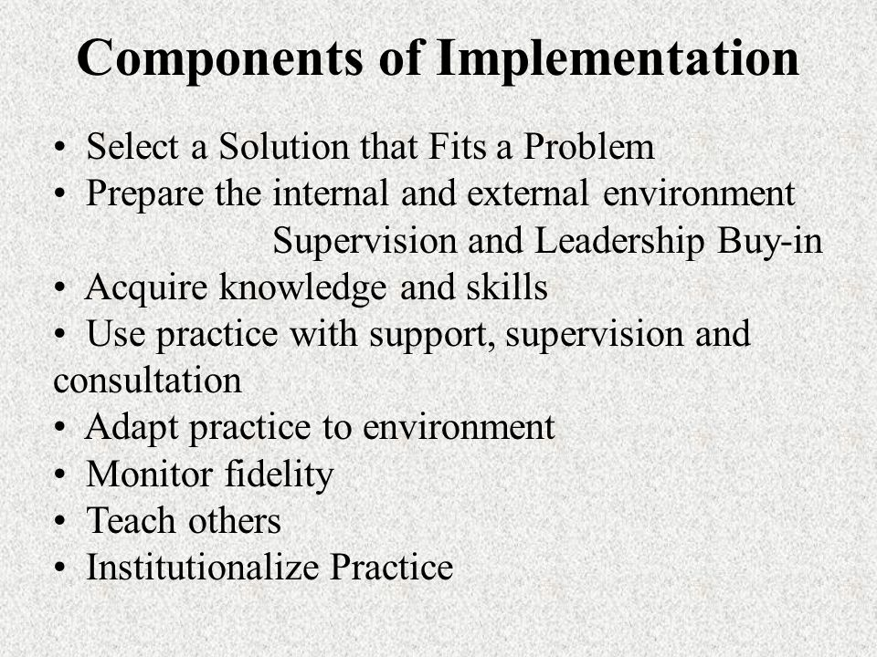 Components of Implementation