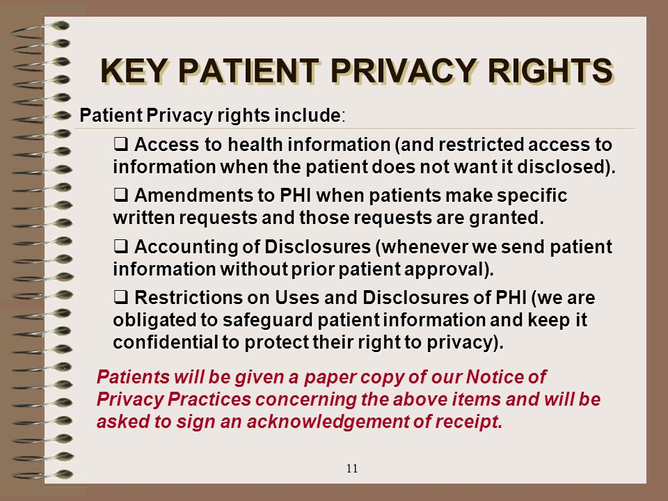 KEY PATIENT PRIVACY RIGHTS