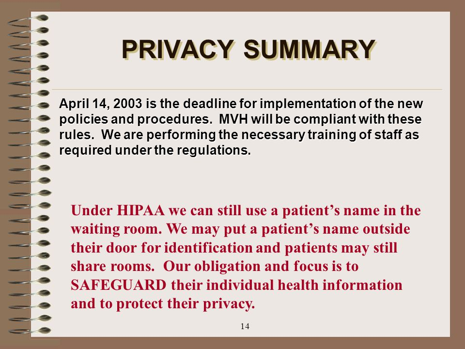 PRIVACY SUMMARY