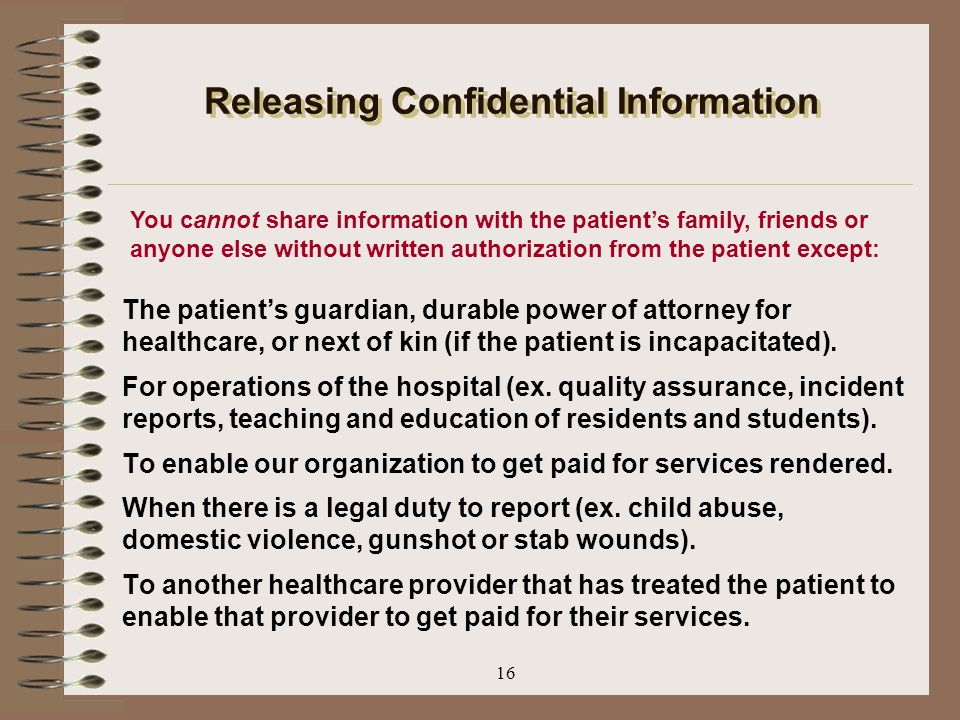 Releasing Confidential Information