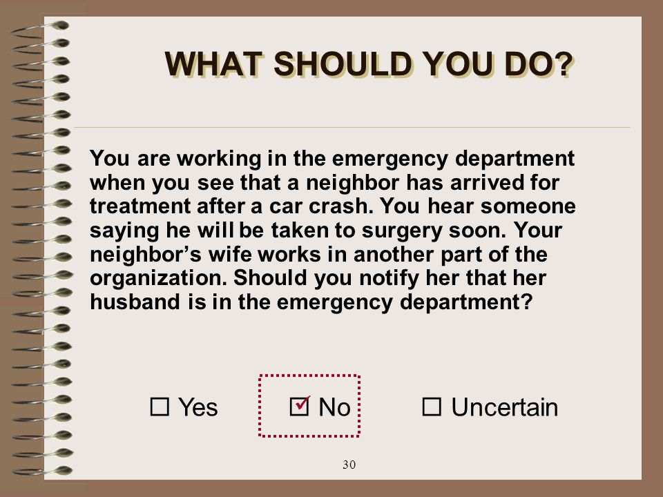 WHAT SHOULD YOU DO  Yes  No  Uncertain