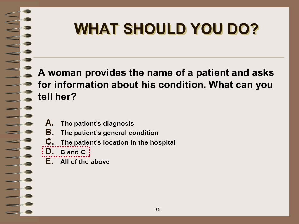 WHAT SHOULD YOU DO A woman provides the name of a patient and asks for information about his condition. What can you tell her