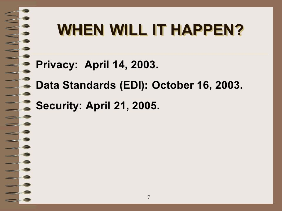 WHEN WILL IT HAPPEN Privacy: April 14, 2003.