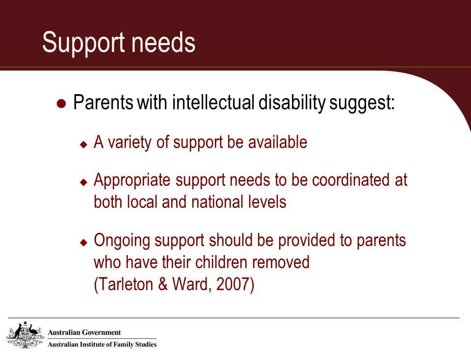 Support needs Parents with intellectual disability suggest: