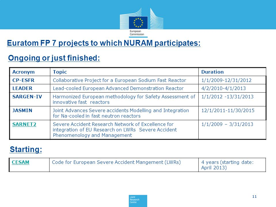 Euratom FP 7 projects to which NURAM participates: