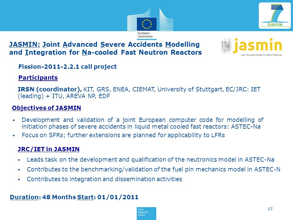 JASMIN: Joint Advanced Severe Accidents Modelling and Integration for Na-cooled Fast Neutron Reactors