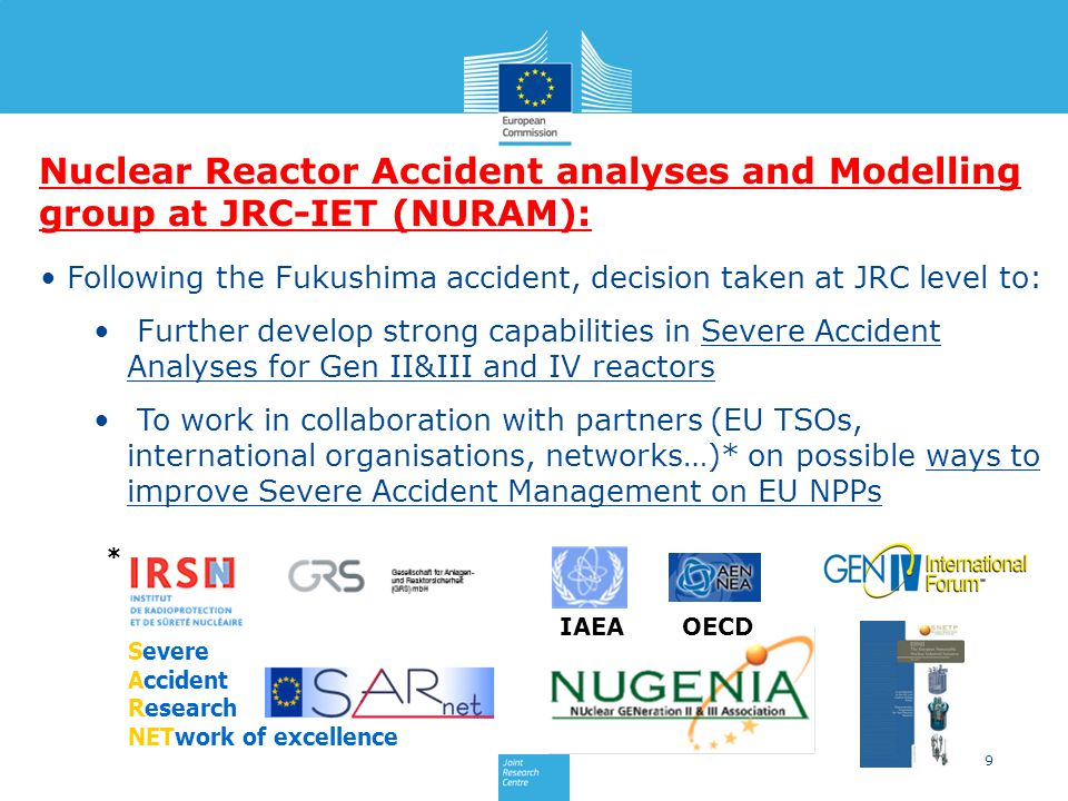 Nuclear Reactor Accident analyses and Modelling group at JRC-IET (NURAM):