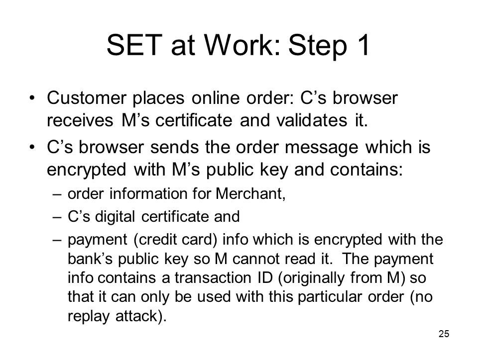SET at Work: Step 1 Customer places online order: C's browser receives M's certificate and validates it.