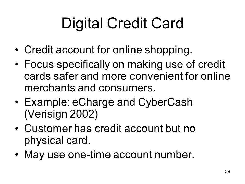 Digital Credit Card Credit account for online shopping.