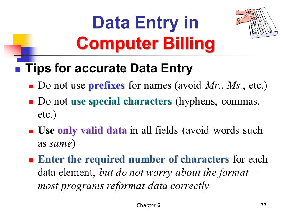 Data Entry in Computer Billing