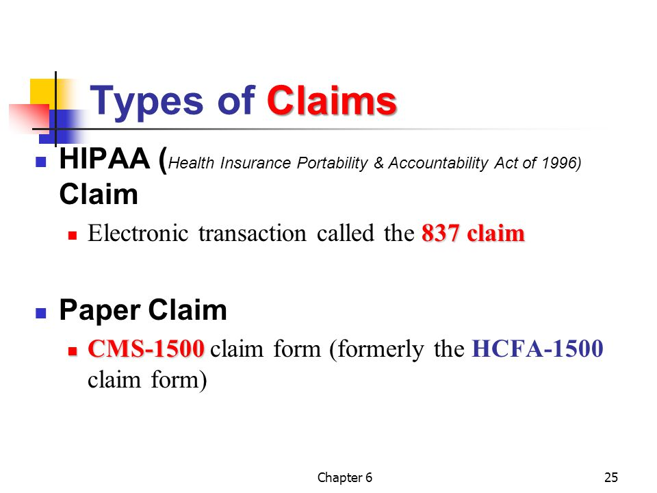 Types of Claims HIPAA (Health Insurance Portability & Accountability Act of 1996) Claim. Electronic transaction called the 837 claim.