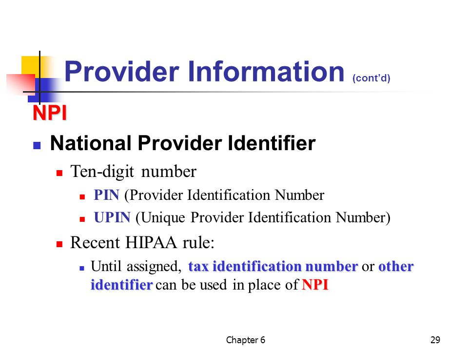 Provider Information (cont'd)
