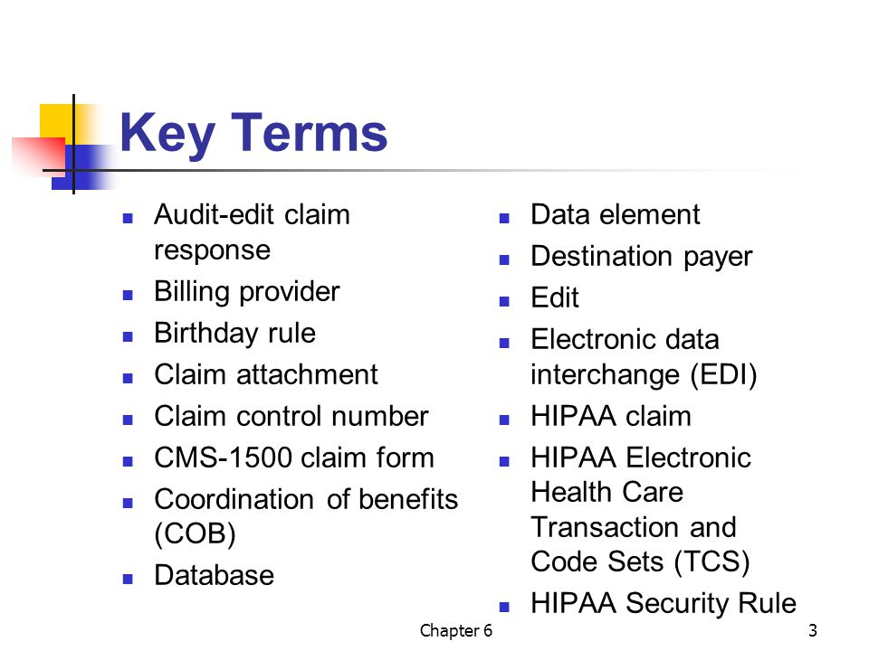 Key Terms Audit-edit claim response Billing provider Birthday rule
