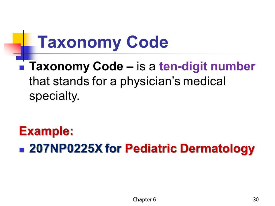 Taxonomy Code Taxonomy Code – is a ten-digit number that stands for a physician's medical specialty.