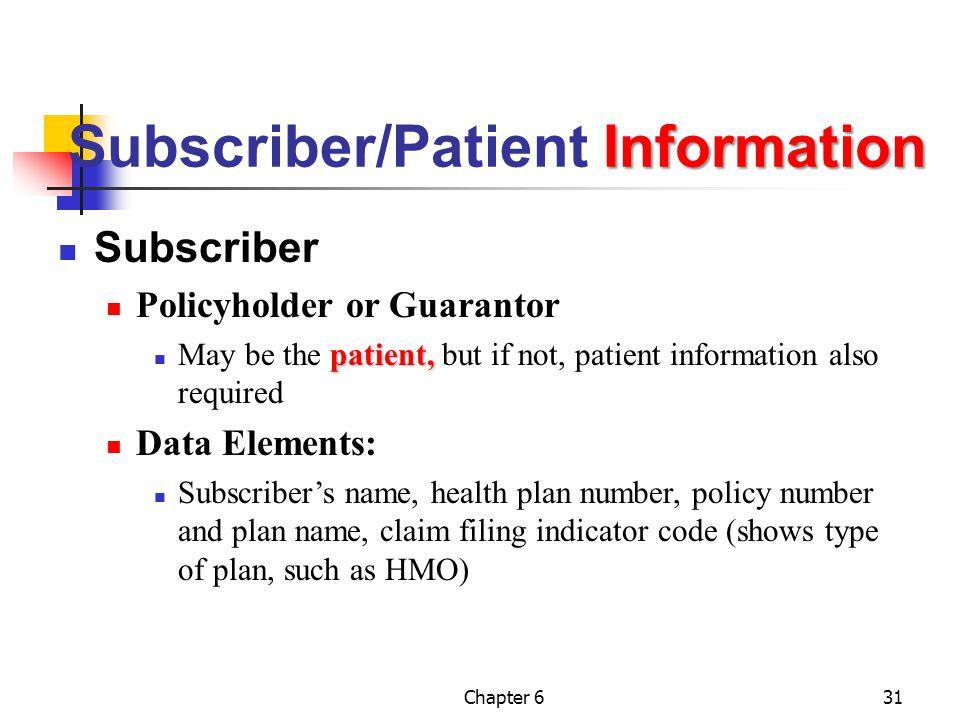Subscriber/Patient Information