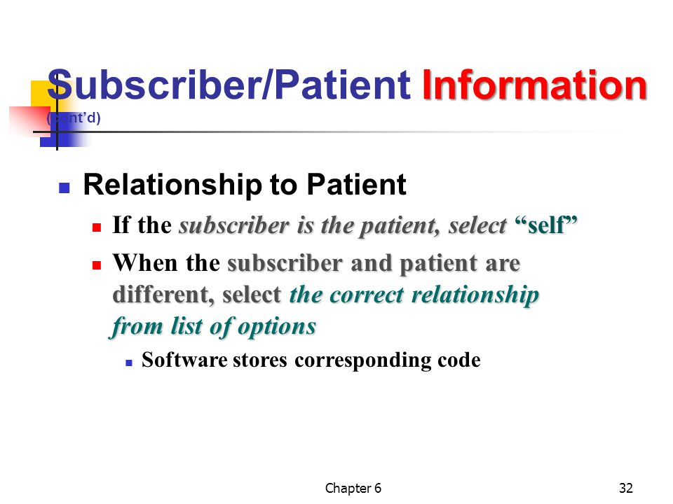 Subscriber/Patient Information (cont'd)
