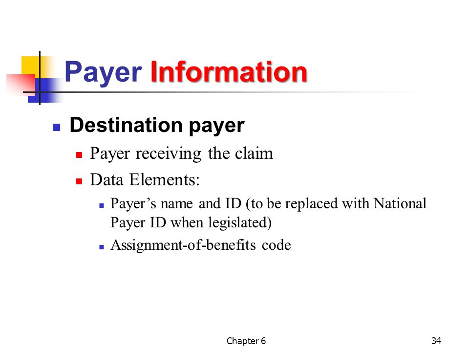 Payer Information Destination payer Payer receiving the claim