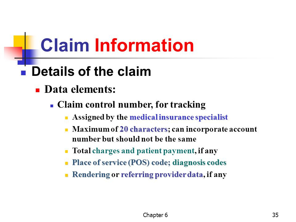 Claim Information Details of the claim Data elements: