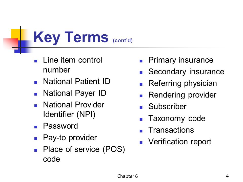 Key Terms (cont'd) Line item control number National Patient ID