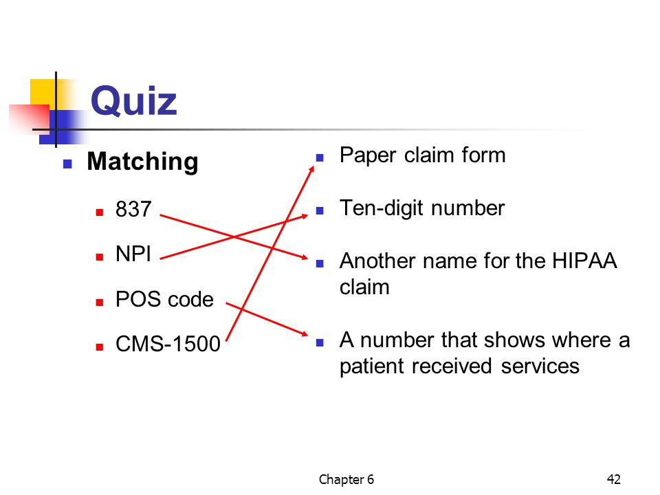 Quiz Matching Paper claim form Ten-digit number 837 NPI