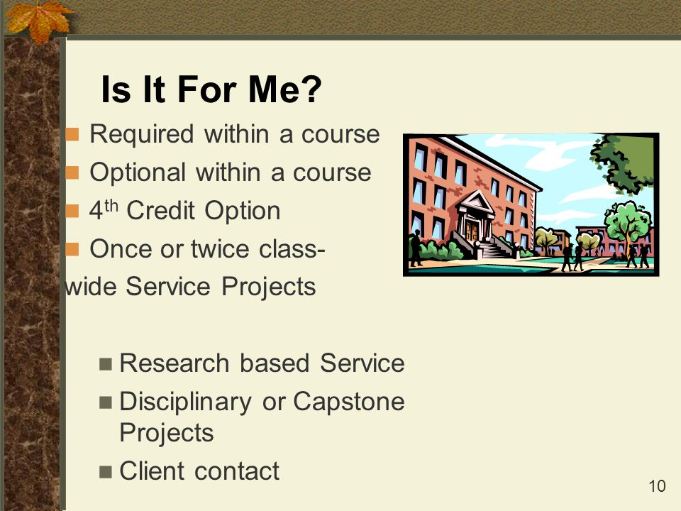 Is It For Me Required within a course Optional within a course