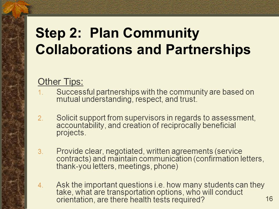 Step 2: Plan Community Collaborations and Partnerships