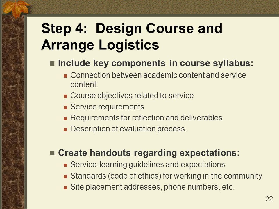 Step 4: Design Course and Arrange Logistics