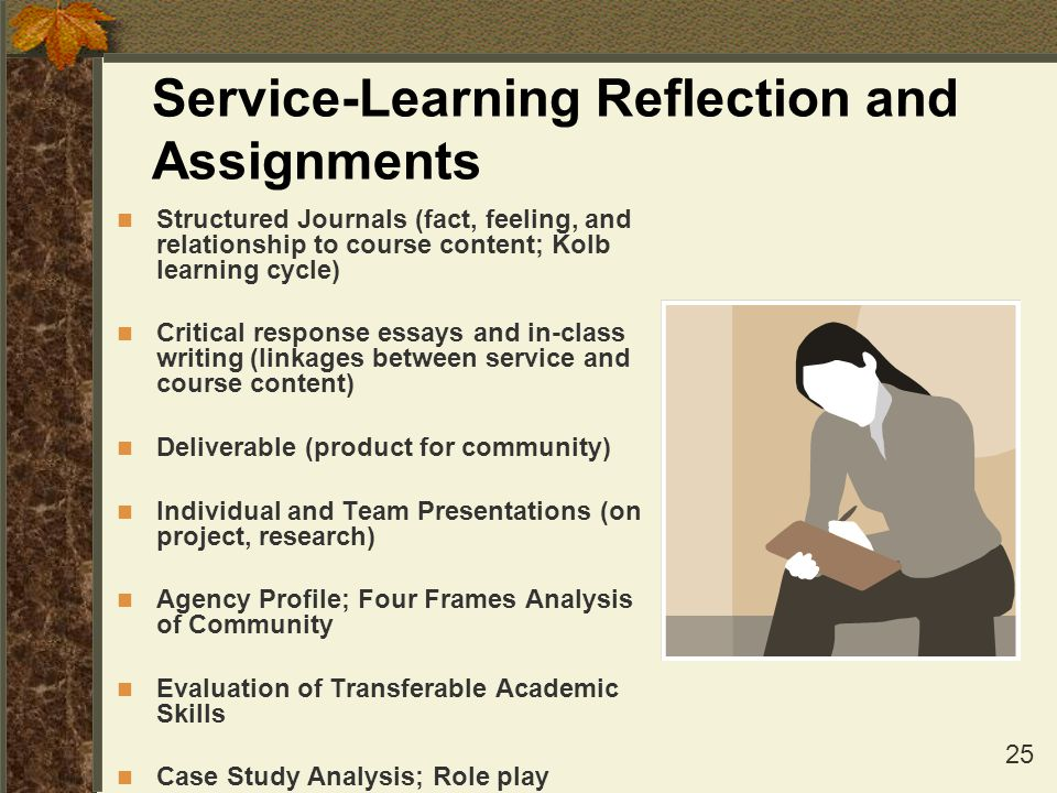 Service-Learning Reflection and Assignments