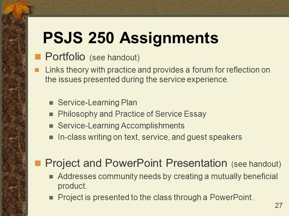 PSJS 250 Assignments Portfolio (see handout)