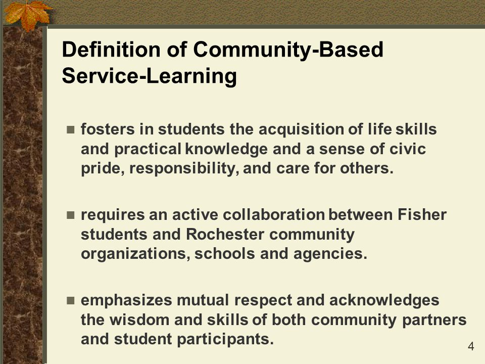 Definition of Community-Based Service-Learning