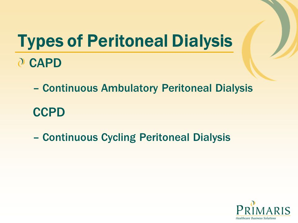 Types of Peritoneal Dialysis