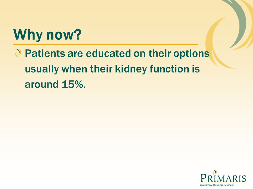 Why now Patients are educated on their options usually when their kidney function is around 15%.