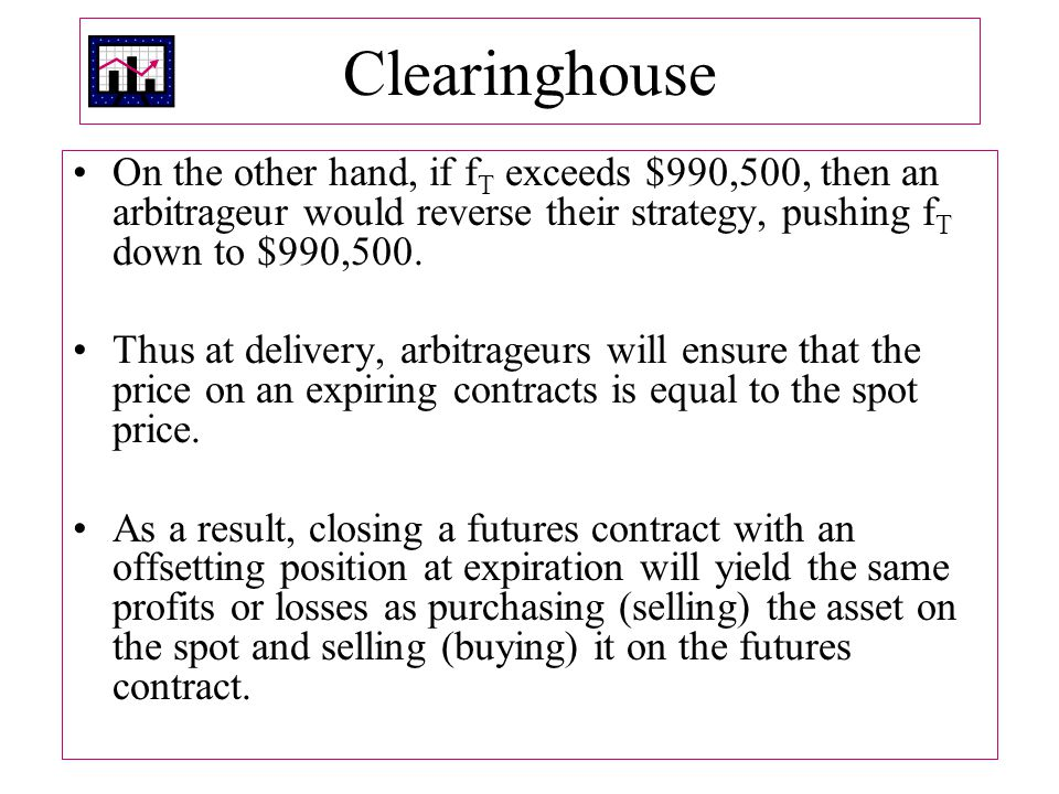 Clearinghouse On the other hand, if fT exceeds $990,500, then an arbitrageur would reverse their strategy, pushing fT down to $990,500.