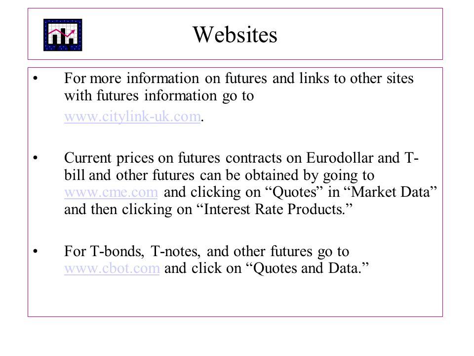 Websites For more information on futures and links to other sites with futures information go to. www.citylink-uk.com.