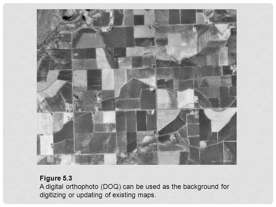Figure 5.3 A digital orthophoto (DOQ) can be used as the background for digitizing or updating of existing maps.