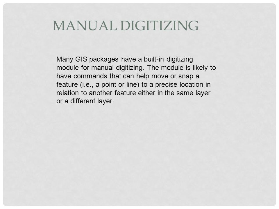 Manual Digitizing
