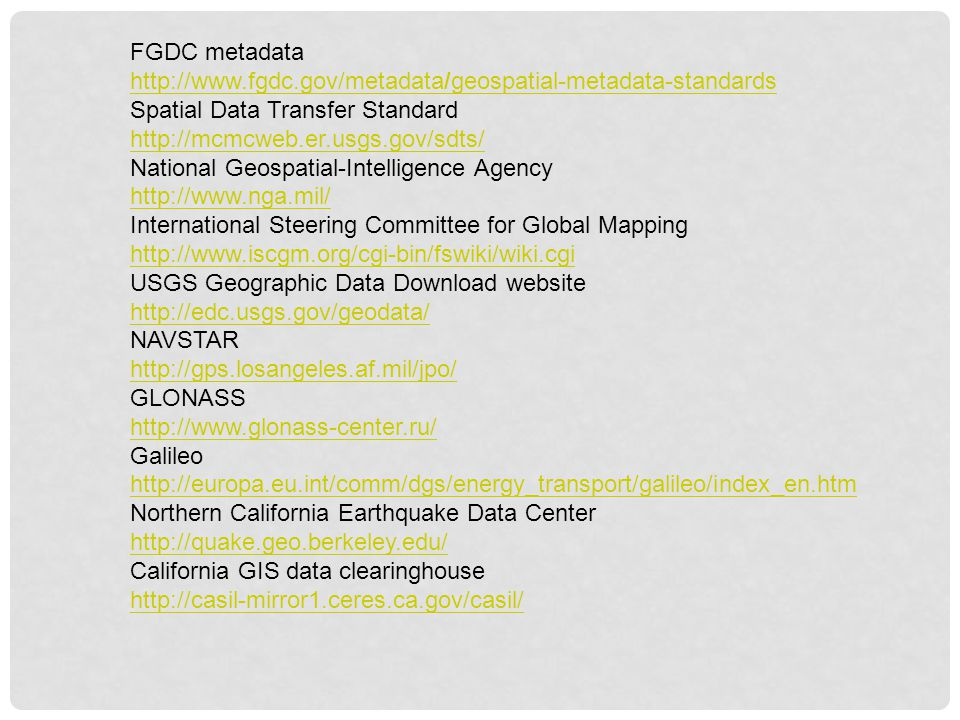 FGDC metadata http://www.fgdc.gov/metadata/geospatial-metadata-standards. Spatial Data Transfer Standard.