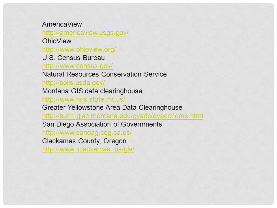 AmericaView http://americaview.usgs.gov/ OhioView. http://www.ohioview.org/ U.S. Census Bureau. http://www.census.gov/