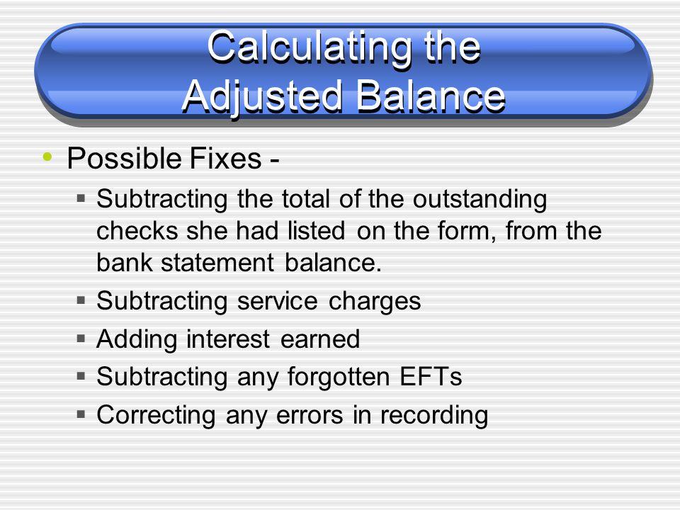 Calculating the Adjusted Balance