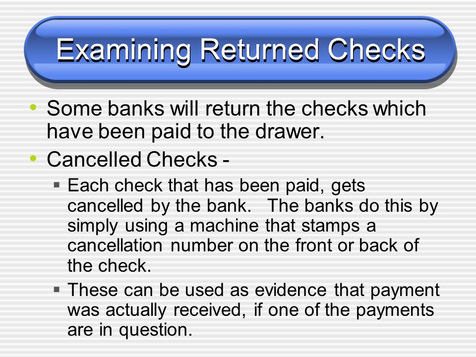 Examining Returned Checks