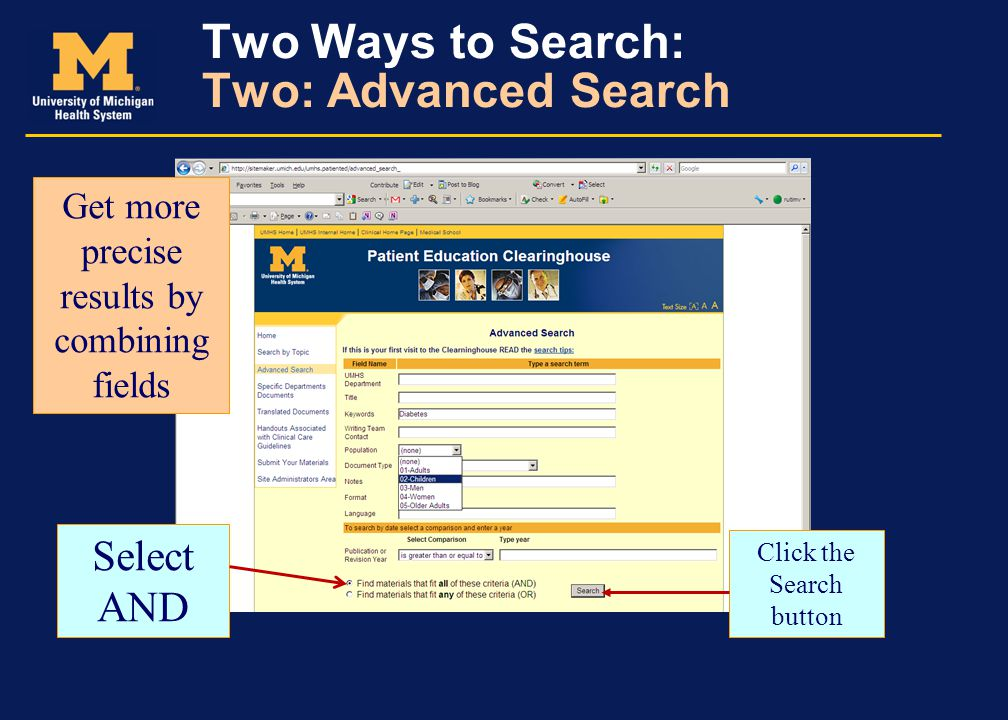 Two Ways to Search: Two: Advanced Search