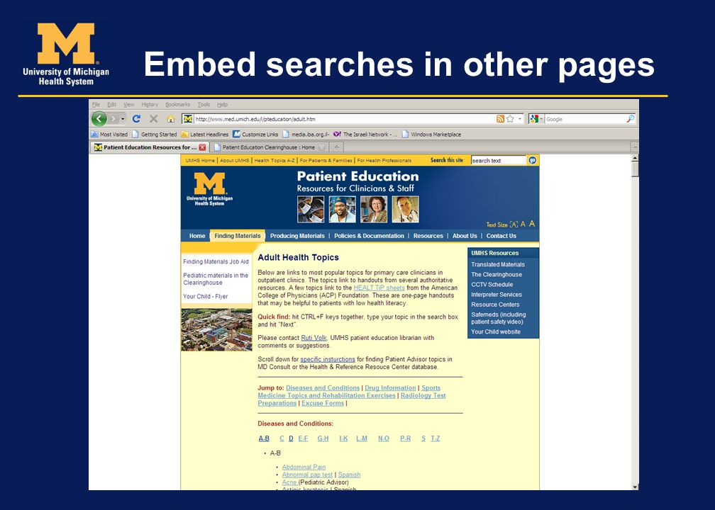 Embed searches in other pages