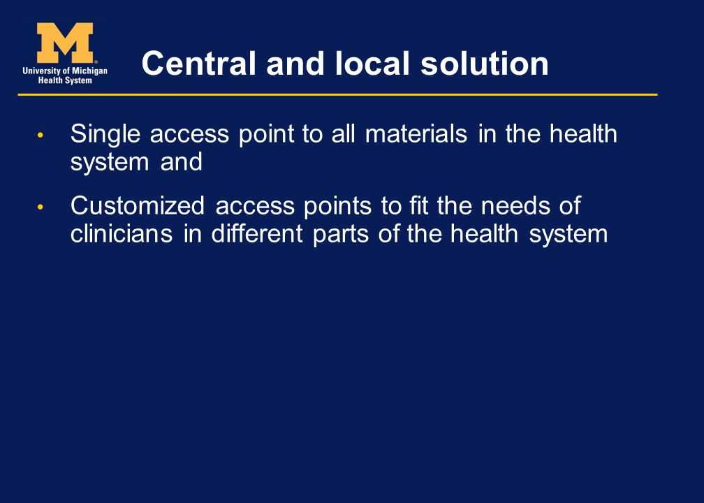 Central and local solution