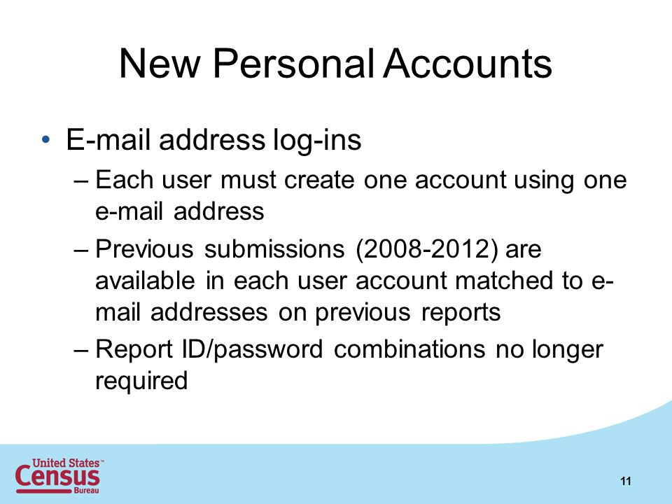 New Personal Accounts E-mail address log-ins