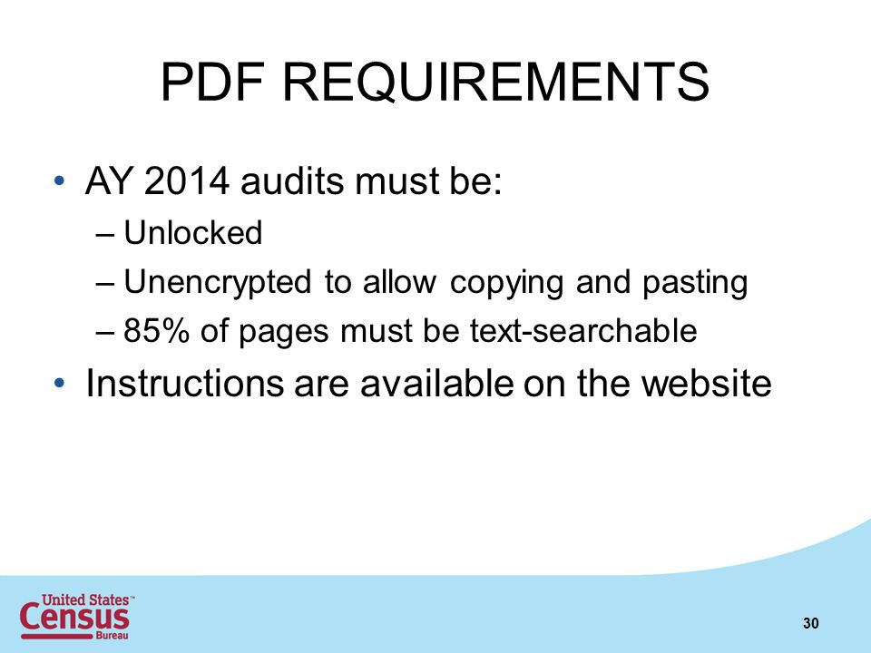 PDF REQUIREMENTS AY 2014 audits must be: